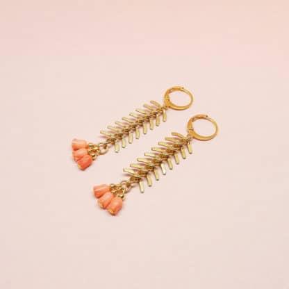 Boucles d'oreilles Leaf Flamingo Bijoux Marie Gold