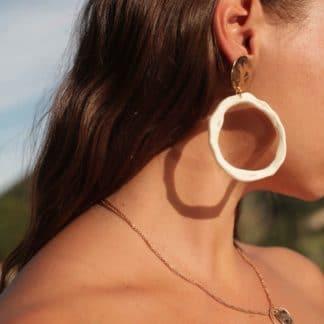 Boucles d'oreilles Mira Blanc Anna Shelley Bijoux