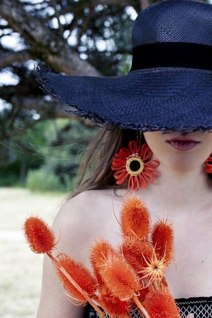 Boucles d'Oreilles Flor Orange Equinox Ecuador