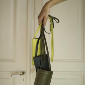 Pochette portable kaki |Raphaëlle Germain | Maroquinerie Créateurs